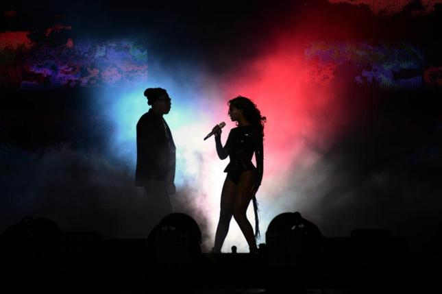 Beyoncé and Jay Z perform together in Paris during their 'On the Run' tour.